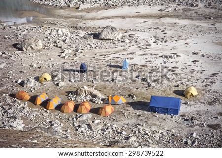 Tents in Everest Base Camp region, Sagarmatha National Park, Himalayas, Nepal.  - stock photo
