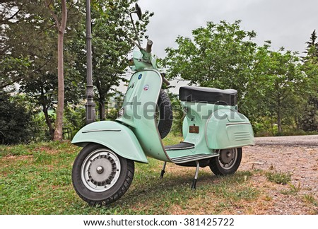 "TEODORANO, ITALY - MAY 16: vintage italian scooter Vespa 125 GTR (1969) parked during the rally of classic Vespa ""Trofeo dell'appennino"" on May 16, 2015 in Teodorano, FC, Italy"