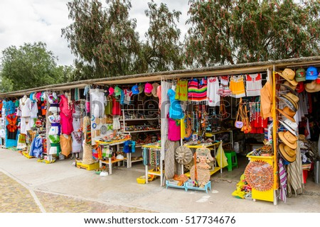 TEOTIHUACAN, MEXICO - OCT 27, 2016: Market place with original traditional Mexican souvenirs and clothing, which are popular among the tourists.
