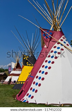 Tepees in the Indian village - stock photo