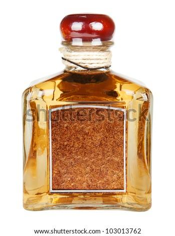 tequila bottle isolated on white - stock photo