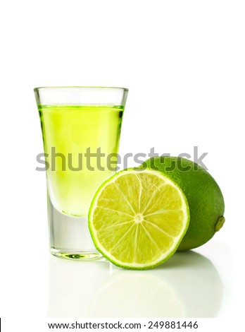 Tequila shot with lime isolated on white background - stock photo