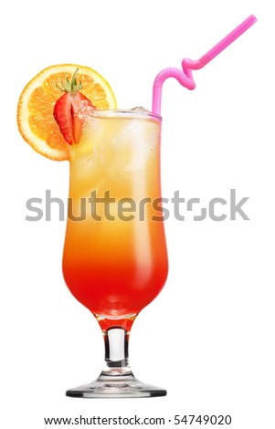Tequila sunrise Cocktail isolated on a white backgroun - stock photo