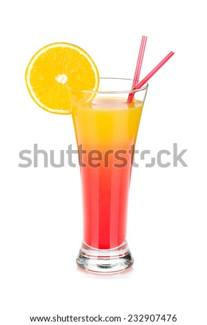 Tequila sunrise cocktail. Isolated on white background - stock photo