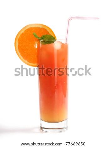 Tequila sunrise drink, isolated on white background - stock photo