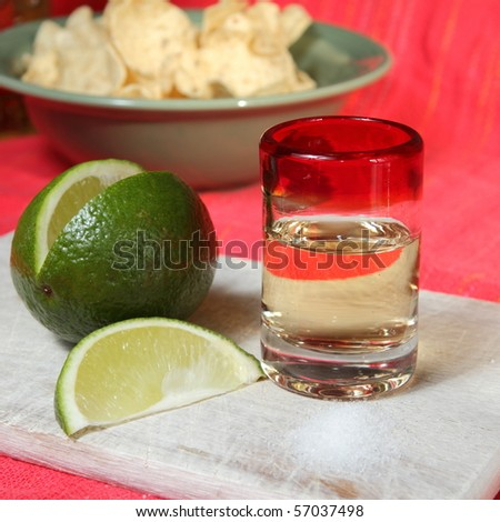 Tequila with lime and salt on a wooden board - stock photo
