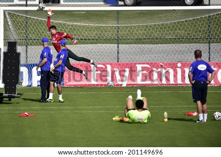 TERESOPOLIS, BRAZIL - JUNE 26, 2014: Victor, goalkeeper of Brazil during a training session at the Granja Comary training center. NO USE IN BRAZIL. Gaspar Nobrega/VIPCOMM