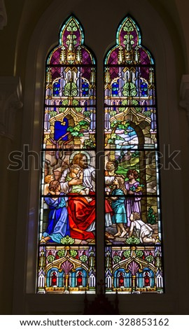 TERESOPOLIS, RIO DE JANEIRO/BRAZIL - October 11, 2015: Sacred Art - Stained Glass - Jesus with children - Matrix Santa Teresa D'Avila - City of Teresopolis
