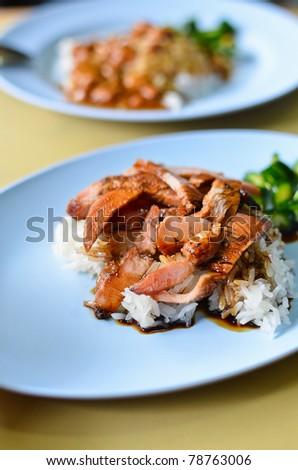 Teriyaki pork rice , Asian style food - stock photo