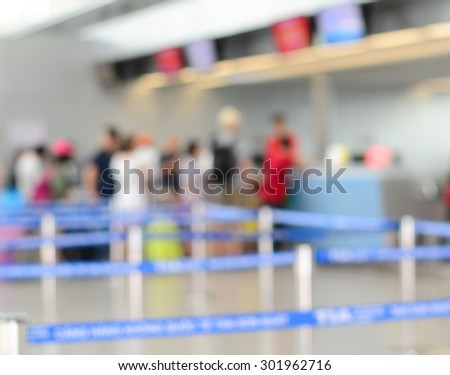 Terminal departure check-in at airport with bokeh. - stock photo
