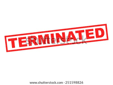 TERMINATED red Rubber Stamp over a white background. - stock photo