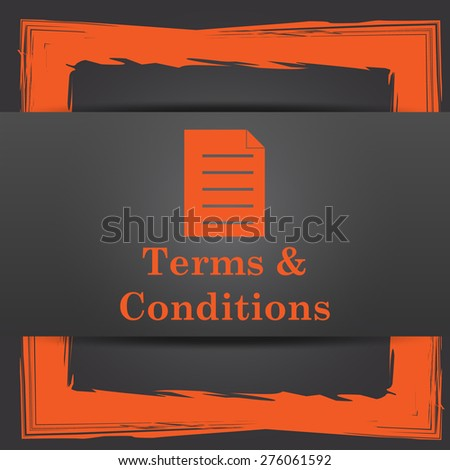 Terms and conditions icon. Internet button on grey background.
