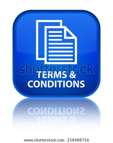 Terms and conditions (pages icon) blue square button - stock photo