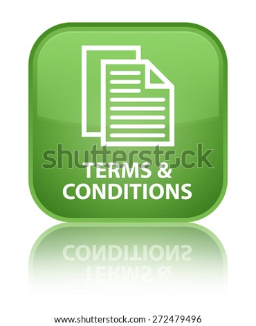 Terms and conditions (pages icon) soft green square button - stock photo