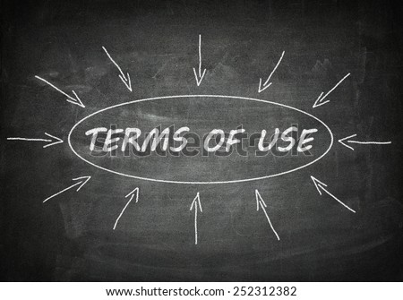 Terms of use process information concept on black chalkboard. - stock photo