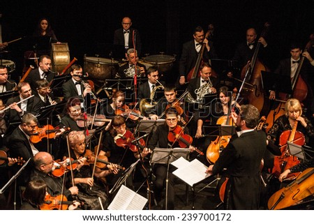 "TERNOPIL, UKRAINE - DECEMBER 12: Ternopil Philharmonic Symphony Orchestra  as part of annual Festival ""Jazz Bez"" on December 12, 2014 in Ternopil, Ukraine"