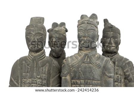 Terra cotta warrior, isolated on white background (manual focus on the right front one) - stock photo