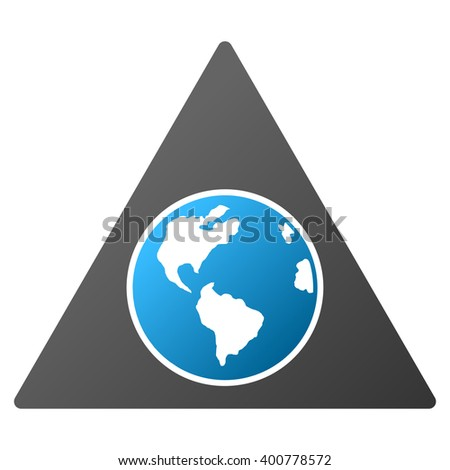 Terra Triangle glyph toolbar icon for software design. Style is a gradient icon symbol on a white background. - stock photo