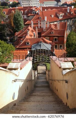 terrace gardens Prague, Bohemia (Furstenberg garden) - stock photo