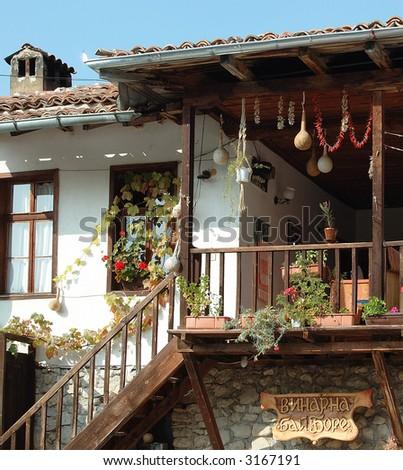 Terrace in old style - Bulgaria - stock photo