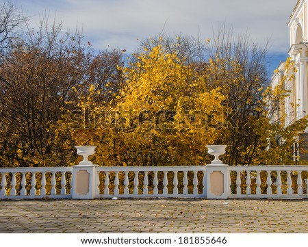 Terrace in the autumn park Arkhangelskoye in Moscow - stock photo