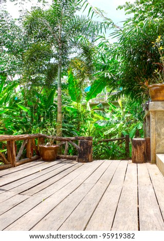 terrace in the Tropical Park - stock photo
