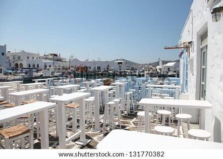 Terrace of a greek restaurant on Paros island in the Cylcades (Greece) - stock photo