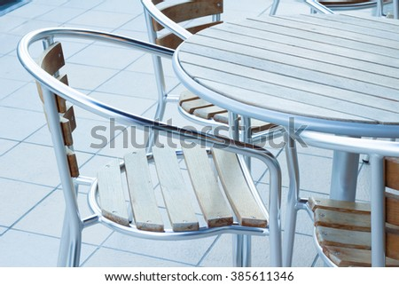 Terrace of folding chair and table
