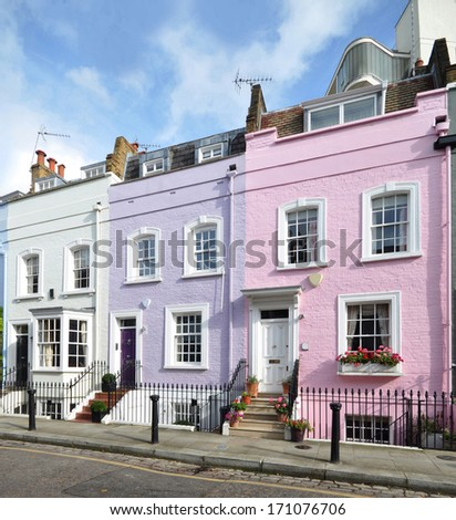 Terrace of small eighteenth century Georgian houses in London, UK. - stock photo