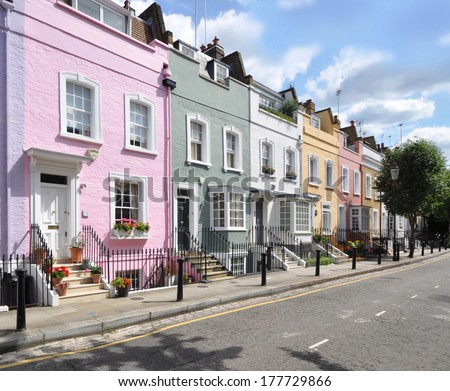 Terrace of small eighteenth century Georgian period houses in London, UK. - stock photo
