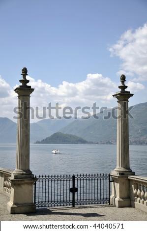 Terrace of Villa Melzi on Lake Como - stock photo