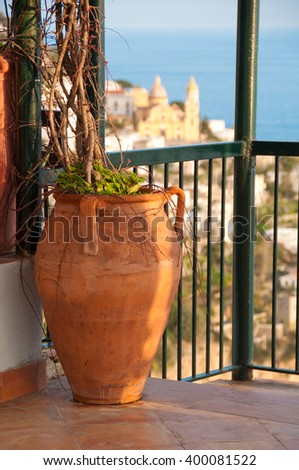 Terrace on Amalfi coast, Italy - stock photo