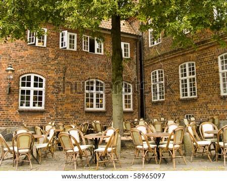 Terrace on the street of an European city - stock photo