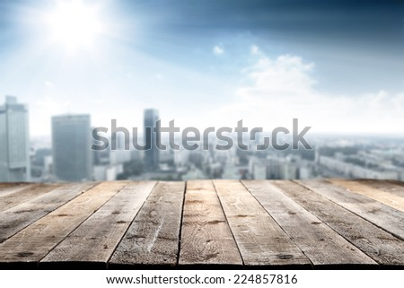 terrace space of wood and free space for you and town