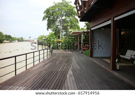 terrace walkway with river view of the hotel in bangkok thailand
