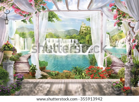 terrace with access to the waterfall across the bridge - stock photo