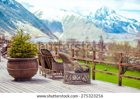 Terrace with beautiful mountain view - stock photo