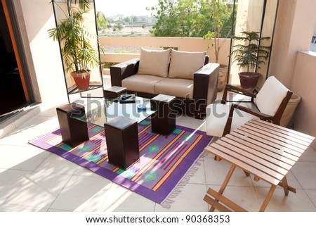 terrace with sofa seat - stock photo