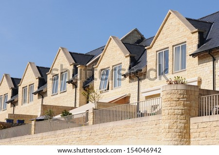 Terraced English Town Houses Background - stock photo