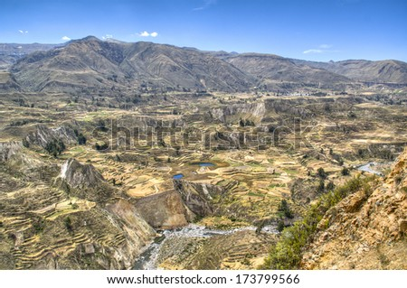 Terraces at the Colca Canyon near Arequipa, Peru - stock photo