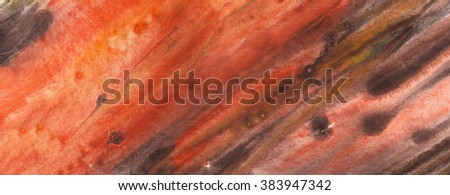 Terracotta abstract watercolor macro texture background. Colorful handmade technique aquarelle. - stock photo