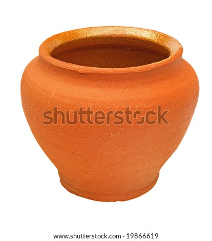 Terracotta brown clay flower pot - stock photo