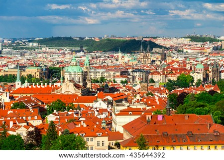 Terracotta red roofs of the city Prague shot from the high point, Prague, Czech Republic - stock photo