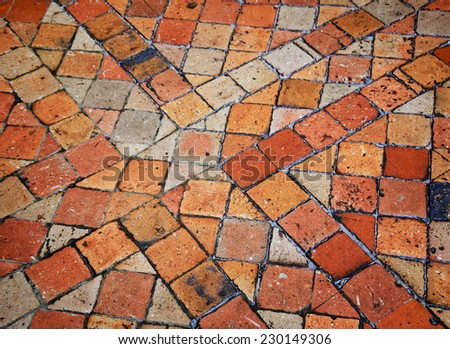 Terracotta Tile Floor In Old House.