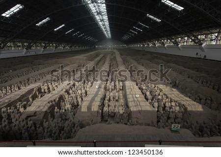 Terracotta warriors great hall - stock photo