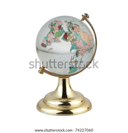 Terrestrial globe for learning about world map in chinese language - stock photo