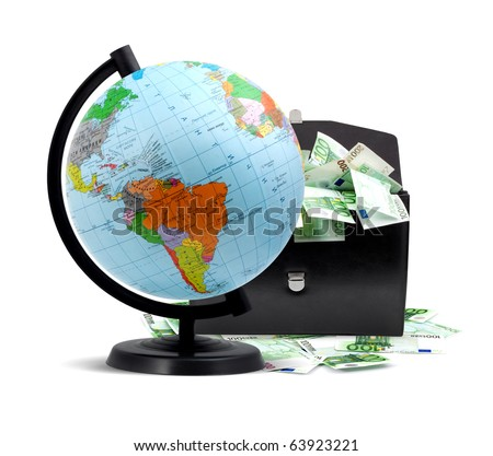 Terrestrial globe, money and briefcase isolated on a white background