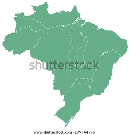 Terrestrial silhouette map of the Brazil  - stock photo