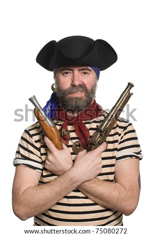 Terrible bearded pirate in tricorn hat with a muskets. - stock photo
