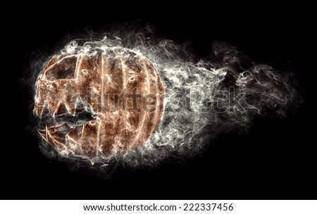 terrible halloween pumpkin in the smoke, flying on a black background